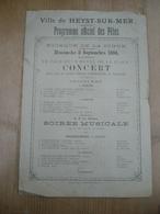 Heyst Sur Mer  Heist 1894 Kiosque De La Digue Brasserie S Georges Motte - Programma's