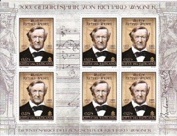 MB 2024) Vatikan 2013 MiNr 1781 KB Kleinbogen **:  Richard Wagner (Komponist) - Musik