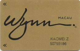 Carte Membre Casino : Wynn Macau Macao - Cartes De Casino