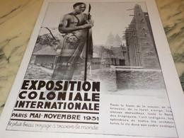 ANCIENNE PUBLICITE EXPOSITION COLONIALE PARIS 1931 - Publicités