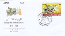 Libya New Issue 2018,Ann Independence 1`v.complete  Official FDC- Butterly ,brids- Nice Topical- SKRILL PAYMENT ONLY - Libya