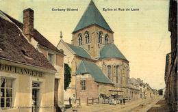 CORBENY -Eglise Et Rue De Laon - Ed. Etabl. Goulet-Turpin- Colorisé - Autres Communes