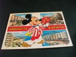 Disney  Topolino Mickey Mouse CON FIORI BORGHETTO S. SPIRITO VEDUTE LIGURIA - Disney