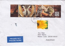 2018 POLSKA TO PAKISTAN COVER WITH OWL STAMPS BIRD FLOWER FAUNNA FLORA. - Hiboux & Chouettes