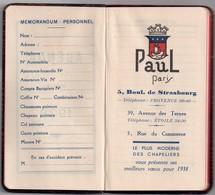 Petit Agenda 1938, Tranche Page Dorée, Offert Par Paul, Chapelier, Paris, Couverture Imitation Cuir ?, Non Utilisé, TBE - Petit Format : 1921-40