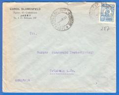 Rumänien; 1928; Brief Mit Michel 285; Jassy, Iasi Firma Blumenfeld Nach Grünhain Sachsen - 1918-1948 Ferdinand, Carol II. & Mihai I.