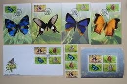 Thailand Buterfly 2001 FDC + 4 Maxicard + S/S + 4 MNH Papillon Buterflies Papillons - Butterflies