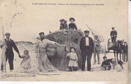 80 Fort Mahon Plage Cahute Des Douaniers Et Pecheurs De Crevettes. Animée, Datée 1908,édit Marat. - Fort Mahon