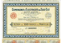 83-ELECTRICITE DU SUD-EST. TOULON Et NICE. Action 100F De 1940. Lot De 18 Titres - Hist. Wertpapiere - Nonvaleurs