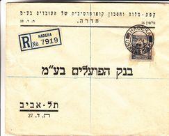 Palestine - Israël - Lettre Recom De 1946 ° - Oblit Hadera - Cachet De Tel Aviv - Palestine