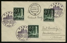 WW II DR Danzig Briefmarken Auf Briefumschlag: Gebraucht Mit Adolf Hitler Sonderstempel Danzig - Bad Homburg 1939 , Be - Lettres & Documents