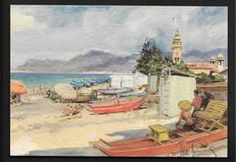 Bordighera - Detail Of Beach CPSM Liguria Imperia  Italie Italia Illustrateur Aldo Raimondi - Imperia