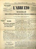 255 L'ABRUZZO CHIETI 1863 , GIORNALE , ATESSA BRIGANTAGGIO , NUOVI CONSIGLIERI MANDAMENTO - Antes 1900