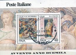 """PIA - ITALIA - 2000 : Avvento Dell' Anno 2000 """" La  Guerra  -  La  Pace """"   - (SAS Bf 30) - Blocchi & Foglietti"""