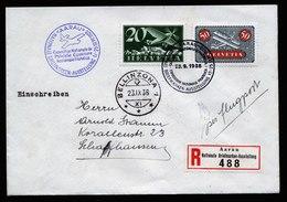 A5817) Schweiz R-Flugpostbrief Aarau 23.09.38 N. Schaffhausen M. Mi.184, 213z - Briefe U. Dokumente