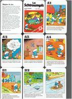 LES SCHTROUMPFS 1983 PEYO JEU DE FAMILLES 34 CARTES A JOUER AVEC SON BOITIER EN PLASTIQUE - Altri