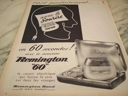 ANCIENNE PUBLICITE  RASOIR ELECTRIQUE REMINGTON    1955 - Publicité