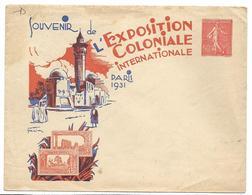 Entiers Postaux Enveloppe Commémorative 50c Semeuse Ref D7b Souvenir De L'Exposition Coloniale Internationale De 1931 .G - Entiers Postaux