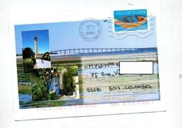 Lettre Flamme Muette Saint Marie De Re Illustré Pont Phare Velo - Postmark Collection (Covers)