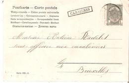 CP. TP. 53 PERUWELZ Avec Griffe D'origine CARNIERES. - Poststempel