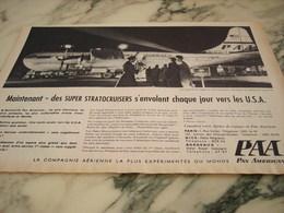 ANCIENNE PUBLICITE PAN AMERICAN DES SUPER STRATOCUISERS  1955 - Publicités