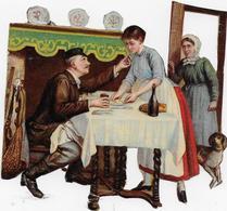 Chromo Découpi  Format 10cmx 11cm : Conter Fleurette Mais La Vieille Veille Au Grain (homme, Femmes) - Découpis