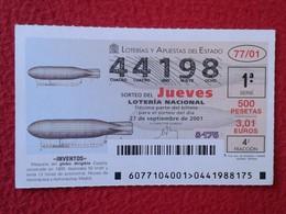 SPAIN DÉCIMO CUPÓN DE LOTERÍA LOTTERY LOTERIE GLOBO DIRIGIBLE AIRSHIP ZEPPELIN INVENTOS AERONÁUTICA MUSEO DE MADRID VER - Billetes De Lotería