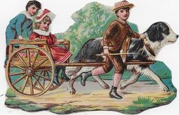 Chromo Découpi  Papier Glacé Format 8cmx 11cm : Bel équipage : Charrette à Chien (St-Bernard), 2 Enfants, Adolescent - Ohne Zuordnung