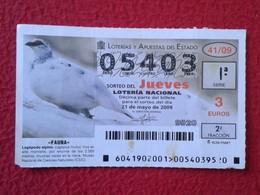 SPAIN DÉCIMO CUPÓN DE LOTERÍA LOTTERY LOTERIE ANIMAL FAUNA WILDLIFE BIRDS BIRD LAGÁPODO ALPINO PERDIZ PARTRIDGE VER FOTO - Billetes De Lotería