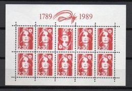 - FRANCE Variétés N° 2614 Neufs ** - Faux Bloc Feuillet 10 X 2 F. 30 Rouge Marianne De Briat DENTELÉS - 1 Tête-bêche - - Varieties: 1980-89 Mint/hinged