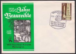 Beer, Bier Brauerei Braurecht Exportbierbrauerei Wernesgrün Hopfen Und Malz Schmuckbrief 1986 - Beers