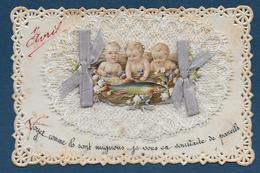 Chromo , Bébés,poisson , Dentelle , Rubans - Vieux Papiers