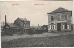 VIRGINAL Prés Ittre Et Hennuyères. La Gare Et Tram Stoomtram. Edit: Poulain-Lacroix, Marcovici. - België