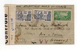 !!! PRIX FIXE : GUYANE, LETTRE PAR AVION DE ST GEORGES DU 11/2/1942 POUR AIX, AVEC BANDE ET CACHET DE CENSURE - Guyane Française (1886-1949)