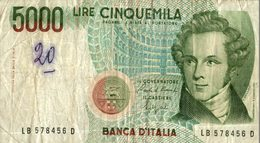 BILLET ITALIE 5000 LIRE - Italie