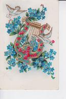 HARPE Décoré De Roses ,fleurs Et Deux Colombes - Fantasie