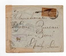 !!! PRIX FIXE : POSTES SERBES A CORFOU, LETTRE DU 22/3/1918 POUR LA SUISSE, AVEC CENSURE. SIGNEE CALVES - Postmark Collection (Covers)