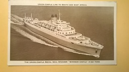 CARTOLINA POSTCARD 1962 SOUTH AFRICA OBLITERE ANNULLO SOUTHAMPTON ROYAL MAIL NAVY WINDSOR CASTLE - Sud Africa