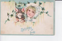 MESSAGES OF LOVE : Petite Fille Et Son Chat ( 1910 ) - Portraits