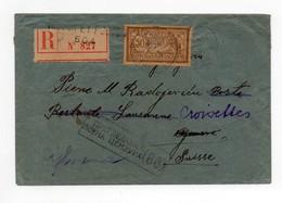 !!! PRIX FIXE : POSTES SERBES A CORFOU, LETTRE RECOMMANDEE DE 1918 POUR LA SUISSE AFFRANCH MERSON - Postmark Collection (Covers)