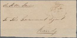 Ceylon / Sri Lanka: 1842 (circa). Pre Stamp Cover Front Addressed To 'The Government Agent, Kandy' C - Sri Lanka (Ceylon) (1948-...)