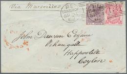 Ceylon / Sri Lanka: 1857. Envelope (creases, Tears) Addressed To 'Happootelle, Ceylon' Bearing SG 76 - Sri Lanka (Ceylon) (1948-...)
