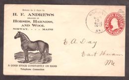 USA - 1917 - Enveloppe Entier Postal Illustration Publicitaire - Cheval - Horse - Lettres & Documents