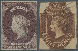 Ceylon / Sri Lanka: 1857-59 QV 6d. Purple-brown And 8d. Brown Both Used, With Complete To Wide Margi - Sri Lanka (Ceylon) (1948-...)