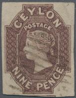 Ceylon / Sri Lanka: 1857-59 9d. Purple-brown, Used And Neatly Cancelled By Oval Of Bars, Cut Square - Sri Lanka (Ceylon) (1948-...)