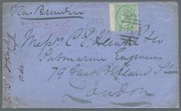 Ceylon / Sri Lanka: 1872 Wing-marginal Single 24c. Green Used On Cover From Galle To London 'Via Bri - Sri Lanka (Ceylon) (1948-...)