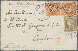 Ceylon / Sri Lanka: 1873. Cover Front Addressed To Ceylon Bearing French 'Ceres' Yvert 38, 40c Orang - Sri Lanka (Ceylon) (1948-...)