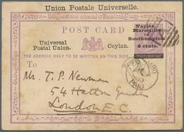 "Ceylon / Sri Lanka: 1879, 8 C On 2 C Violet QV Postal Stationery Card, With Ovp ""Union Postale Unive - Sri Lanka (Ceylon) (1948-...)"