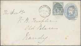 Ceylon / Sri Lanka: 1879. Ceylon Postal Stationery Envelope 'Four Cents' Grey Upgraded With SG 122, - Sri Lanka (Ceylon) (1948-...)