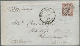 "Ceylon / Sri Lanka: 1882 QV 20c. On 64c. Red-brown, Overprint Showing Incomplete ""0"" Of 20 (reading - Sri Lanka (Ceylon) (1948-...)"
